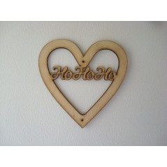 3mm MDF Christmas Heart with HoHoHo in Susa Font Christmas Shapes