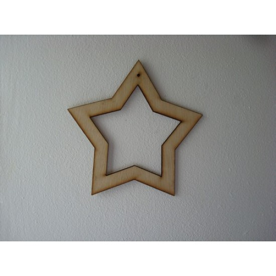 3mm MDF Hollow Star (150mm) Christmas Shapes