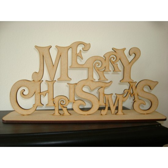 3mm MDF Merry Christmas on Plinth Christmas Quotes & Signs