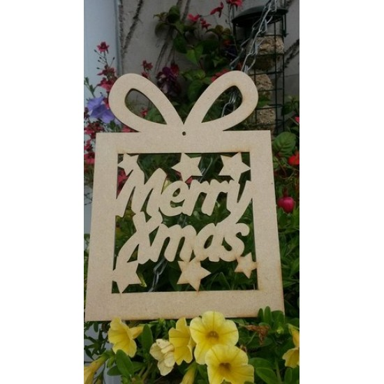 3mm MDF Merry Xmas Gift Box