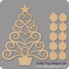 3mm MDF Christmas Family Tree Kit with 10 Baubles Trees Freestanding, Flat & Kits