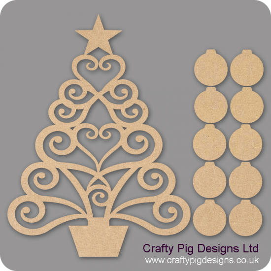3mm MDF Larger Christmas Family Tree Kit with 25 Baubles Trees Freestanding, Flat & Kits