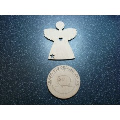 3mm MDF Christmas Angel with heart and star cut out (pack of 5)(100mm)