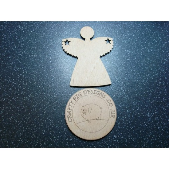 3mm MDF Christmas Angel with stars in wings (pack of 5)(100mm) Christmas Shapes