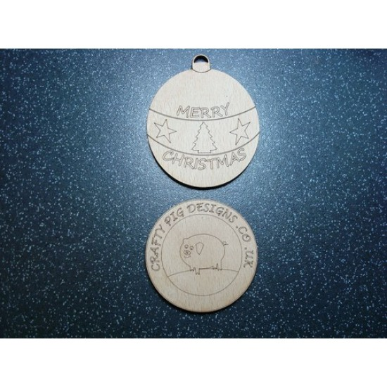 3mm MDF Merry Christmas Bauble (Pack of 5) Christmas Baubles