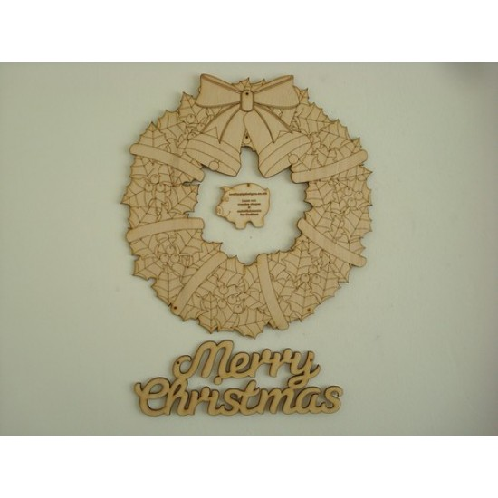 3mm MDF Christmas Wreath with Merry Christmas Christmas Shapes