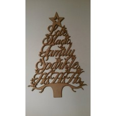 3mm MDF Christmas Word Tree - Love Magic Family Sparkle HoHoHo Christmas Shapes