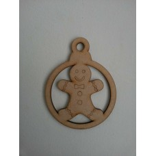 3mm MDF Gingerbread Man Bauble (Pack of 5) Christmas Baubles