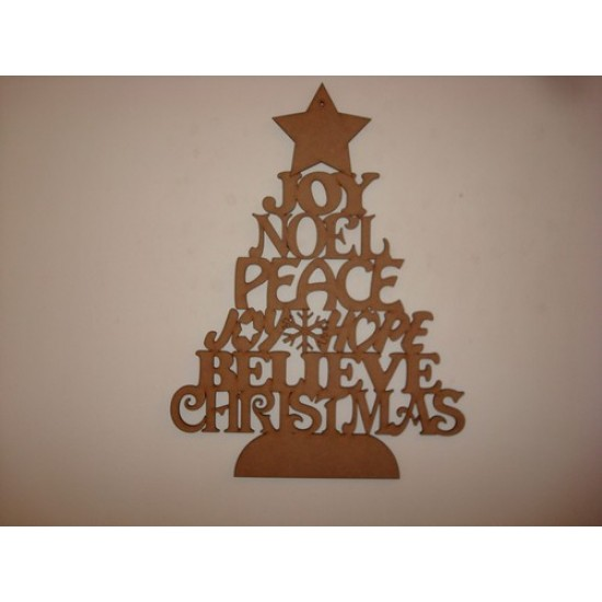 3mm MDF Christmas Word Tree (old version) Christmas Shapes