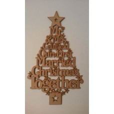 3mm MDF Our First Married Christmas Together Tree - personalised with surname Trees Freestanding, Flat & Kits