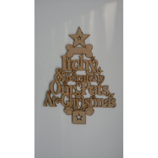 3mm MDF My Pet's Family Christmas Word Tree - add up to 3 names Christmas Shapes