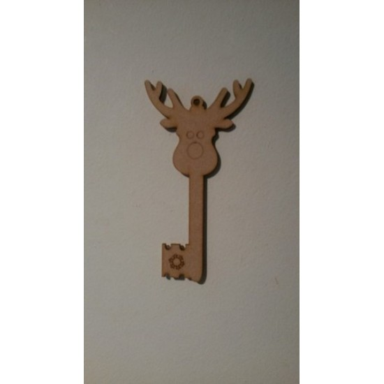 3mm MDF Reindeer Head Key 150mm (pack of 5) Christmas Shapes