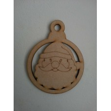 3mm MDF Santa Bauble (Pack of 5) Christmas Baubles