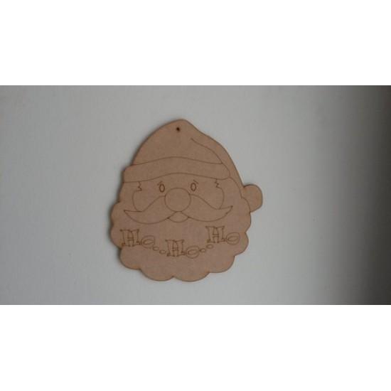 3mm MDF Santa Face with Ho Ho Ho etching Christmas Shapes