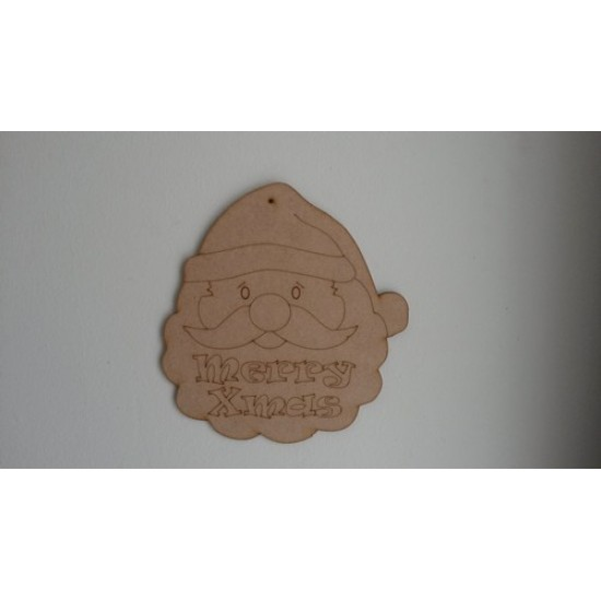 3mm MDF Santa Face with Merry Xmas etching Christmas Shapes