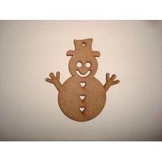 3mm MDF Snowman with heart buttons Tag Tree Decoration (80mm)(pack of 5) Christmas Shapes