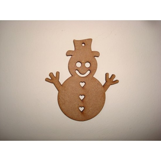 3mm MDF Snowman with heart buttons Tag Tree Decoration (100mm) Pack of 5) Christmas Shapes