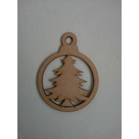 3mm MDF SpruceTree Bauble (Pack of 5) Christmas Baubles