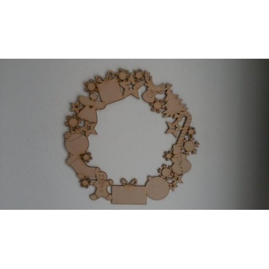 3mm MDF Christmas Door Wreath  Christmas Shapes