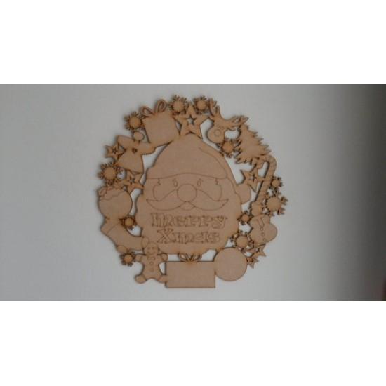 3mm MDF Christmas Door Wreath (with Santa Head) Christmas Shapes