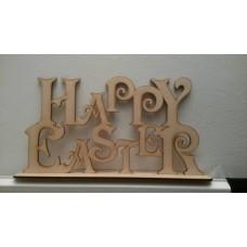 4mm MDF Happy Easter on Plinth Easter