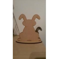 3mm MDF Easter Bunny on plinth - floppy ears Easter