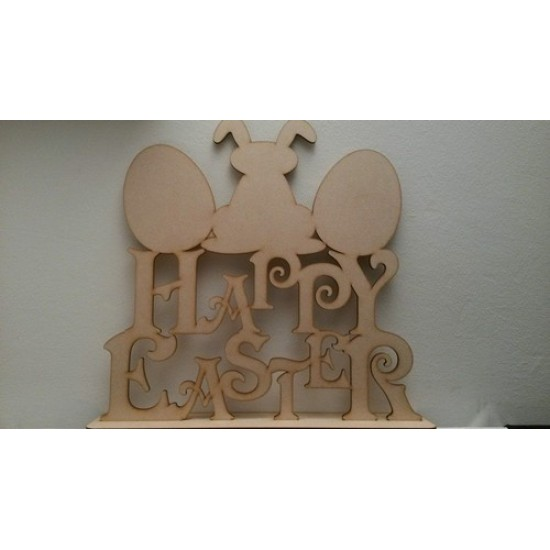 4mm MDF Happy Easter on Plinth with Egg and Bunnies