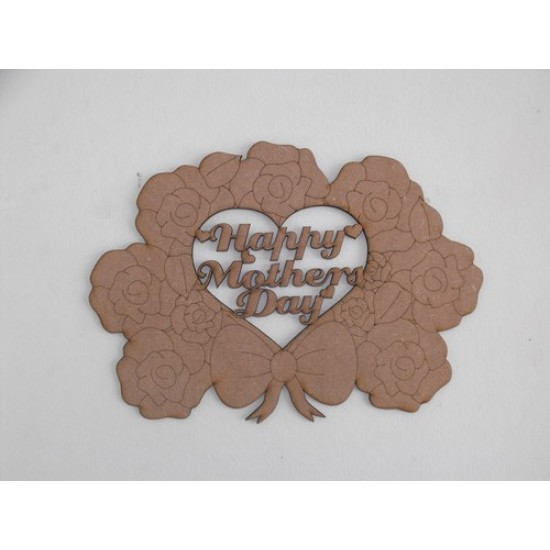 3mm MDF Mother's Day Bouquet (cut out heart/no box) Mother's Day