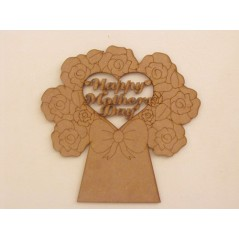 3mm MDF Mother's Day Bouquet with box (cut out heart) Mother's Day