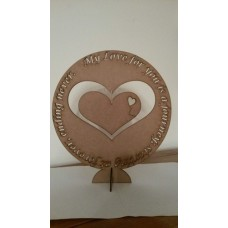 3mm MDF My Love for you is a journey freestanding plaque Valentines