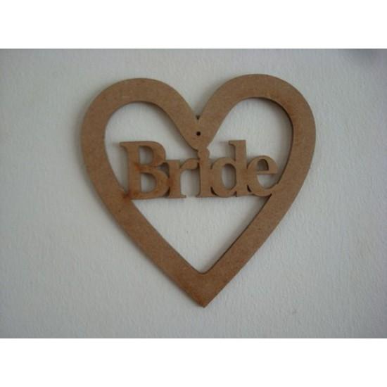 3mm MDF Bride Wedding Heart Wedding