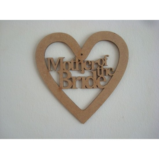 3mm MDF Mother of the Bride Wedding Heart Wedding