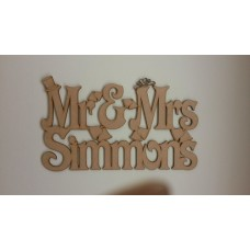 3mm MDF Mr and Mrs hanging sign with surname (bells) Personalised and Bespoke