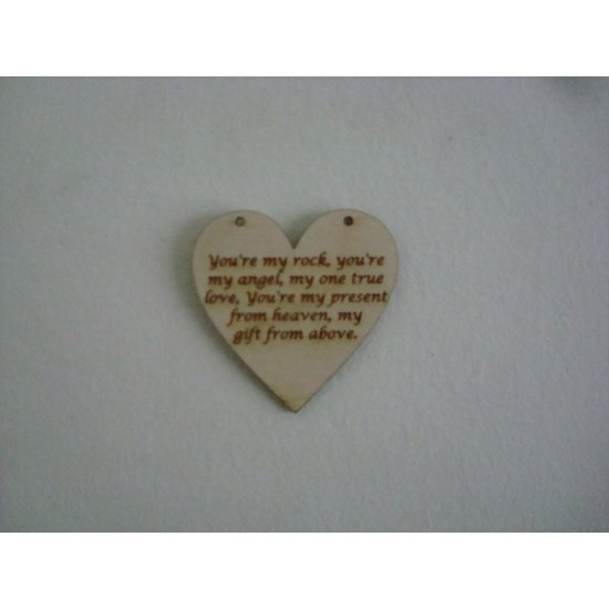 "3mm MDF Etched Heart with ""You are my rock..... Hearts With Words"