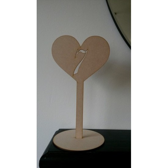 3mm MDF Wedding Table Number Heart Stand - number cut out (300mm) Wedding