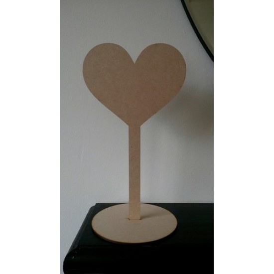 3mm MDF Wedding Table Number Heart Stand - blank (300mm)