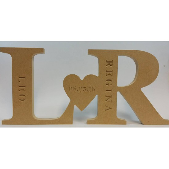 18mm Freestanding Initials And Heart Design (Engraved With Names) 18mm MDF Engraved Craft Shapes