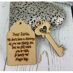 3mm MDF Dear Santa Key & Tag Christmas Shapes