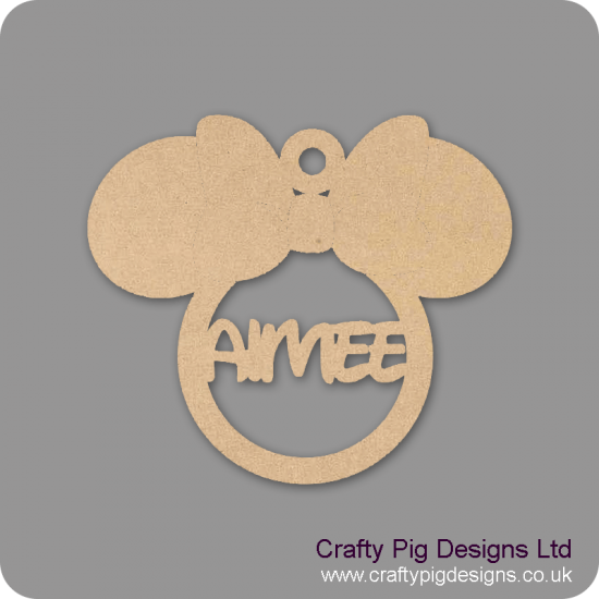 3mm Lady Mouse Head Personalised Bauble Personalised and Bespoke