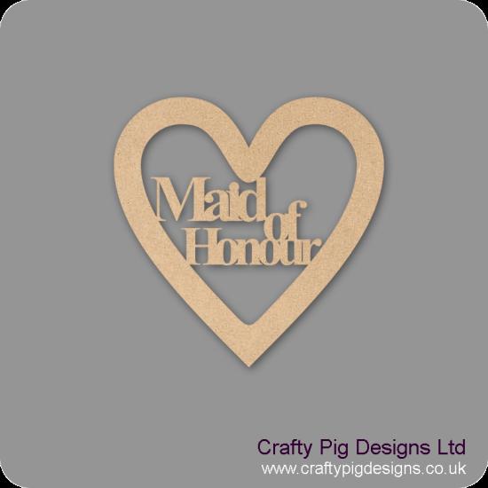 3mm MDF Maid Of Honour Wedding Heart Wedding