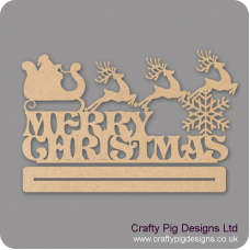 3mm MDF Merry Christmas With Santa On Sleigh Plinth Christmas Shapes