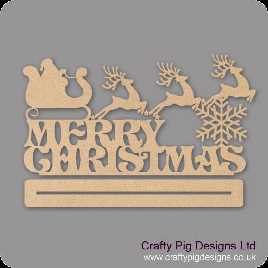 3mm MDF Merry Christmas With Santa On Sleigh Plinth