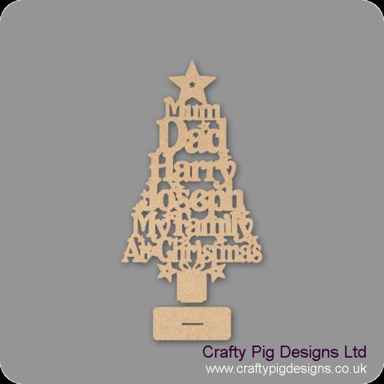 3mm MDF My Family Christmas Word Tree Christmas Shapes