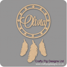 3mm mdf Personalised Dream Catcher (star band) with Feathers Personalised and Bespoke