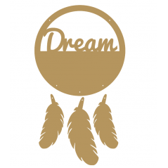 "3mm mdf  ""Dream"" Dream Catcher with feathers"
