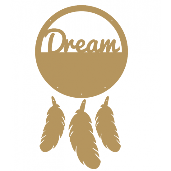 """3mm mdf  """"Dream"""" Dream Catcher with feathers Personalised and Bespoke"""