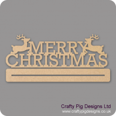 3mm MDF Merry Christmas With 2 Reindeers Plinth  Christmas Shapes