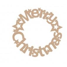 3mm MDF Merry Christmas Circular Door Wreath (new design) Christmas Shapes