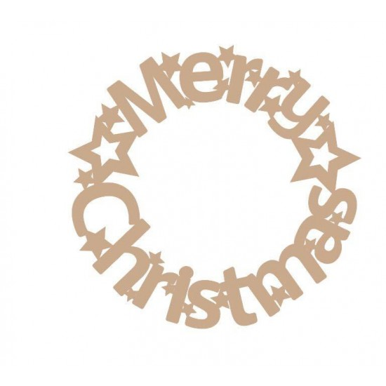 3mm MDF Merry Christmas Circular Door Wreath (new design) Christmas Shapes