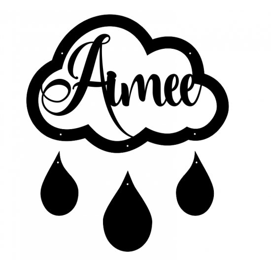 3mm mdf Personalised Cloud and Raindrops Personalised and Bespoke